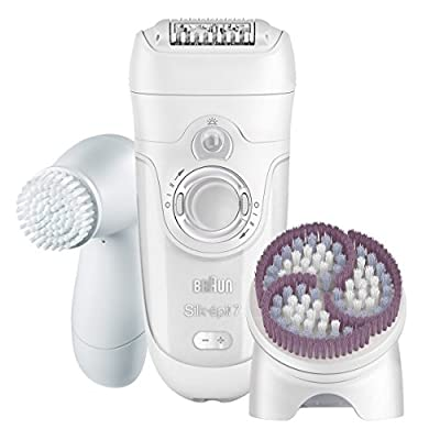 Braun Silk-épil 7 7-929 - Wet & Dry Cordless Electric Hair Removal Epilator with Facial Cleansing Brush for Women