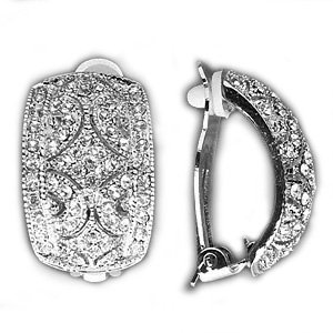 Pave Crystal Clip On Earrings Half Hoop Silver Tone