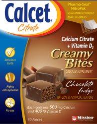 Calcet Chocolate Fudge Calcium Citrate Creamy Bite 500 Mg