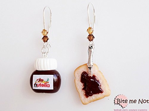 Polymer Clay Nutella and Bread Dangle Kidney Earrings - Mini Food Jewelry - polymer clay charms