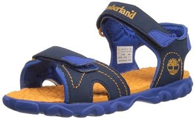 Timberland Junior Splashtown 2-Strap Sandal 7772R Navy / Orange Size 13.5