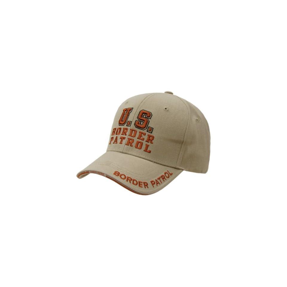RAPID DOMINANCE 3 D High Embroidered Law Enforcement Baseball Caps Hats (Adjustable , BORDER PATROL, KHAKI)