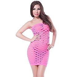 NImra Fashion Dark Pink Solid Babydoll (Free)