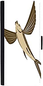 Snoogg Flying Fish Retro Style Graphic Snap On Hard Back Leather + Pc Flip Co...