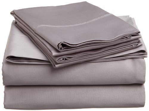 Impressions Genuine Egyptian Cotton 400 Thread Count Split King 5-Piece Sheet Set Solid, Grey front-962181