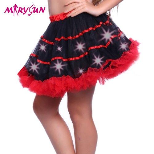 [Led Tutu Skirt Light Up Black Skirt For Women Girls 80s Costume Skirt For Party] (Light Up Black Tutu)