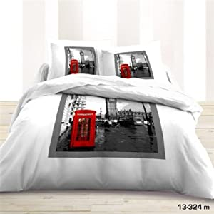 Housse de couette 220x240 2 taies london deco londres - Lampe cabine telephonique anglaise ...