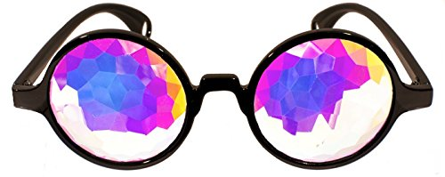 Kaleidoscope Glasses from Rave Raptor Black Frame with Rainbow Prism Diamond Diffraction Lens Perfect for Festivals and Rave Events