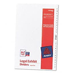 Avery : Avery-Style Legal Side Tab Divider, Title: A-Z, 14 x 8 1/2, White, One Set -:- Sold as 2 Packs of - 27 - / - Total of 54 Each