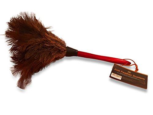 38cm Piumino in piume di struzzo - Attira le particelle di polvere - Spesse e morbide piume e manico in legno resistente ed ergonomico - Pulizia e spolvero facile ed efficace
