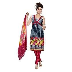 Muac New Grey & Pink Pure JodhPuri Printed Cotton Semi Stitched Suit ( Dress ) + Navratri Gift