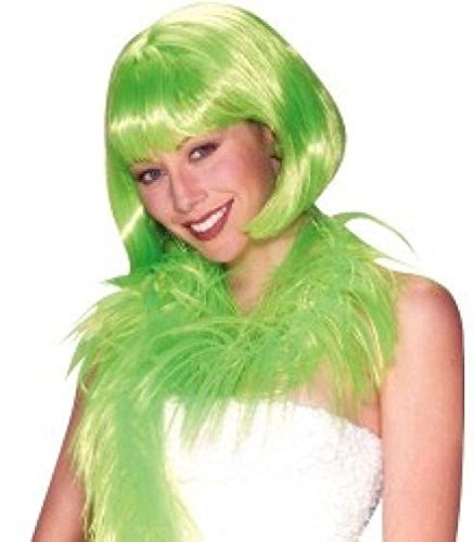 [Popcandy Short Lime Green Bob Wig with Bangs] (Lime Green Wigs)