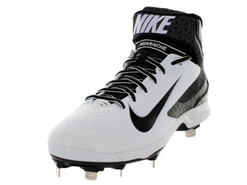 pictures of Nike Men's Huarache Pro Mid Metal White/Black Baseball Cleat 9 Men US