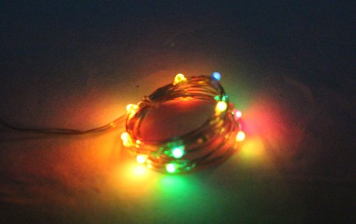 Kw-Light Micro Led 20 Multicolor Changing Lights Battery Operated On 7Ft Long Silver Color Ultra Thin String Wire