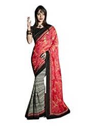 DesiButik's Elegant Light Red Georgette Saree