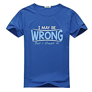 I May Be Wrong Blue Logo Printed For Boys Girls T-shirt Tee