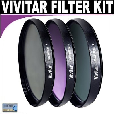 Vivitar Series 1 Multi-Coated 3 Piece Filter Kit (UV, CPL, FLD) Includes Nylon Filter Wallet For The Canon VIXIA HF200, HF20, HF11, HF100, HF10, HG21, HG20 Flash Memory Camcorders