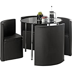Essentialz Hygena Round Space Saver Black Dining Table And