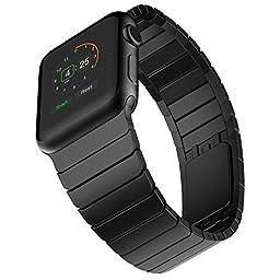 Apple Watch Band, ZoneYiLa® Stainless Steel Replacement Smart Watch Band Link Bracelet (Link Bracelet - Black 38mm)