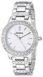 Fossil Ladies Dress Watch Es2362 With White Dial, Stone Encrusted Topring And Bracelet
