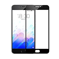 Febelo (TM) Pro HD+ Crystal Clear Full Screen Coverage Tempered Glass Screen Protector For Meizu M3 Note - Black Color