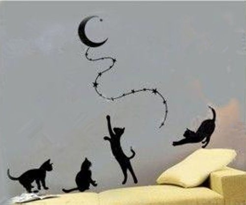 Cats Reaching the Moon Wall Sticker Decal Home Decor for Living Bed Room Study, Black (Galley Kitchen Cabinets compare prices)