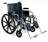 Medline Excel Extra Wide Wheelchair, 450 Lb Weight Capacity, 24 Inch W, Latex Free, Removable Desk-Length Arms, Detachable Foot Rests