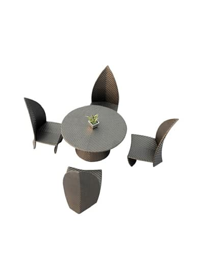 International Designs USA Leaves 5-Piece Outdoor Dining Set, Black