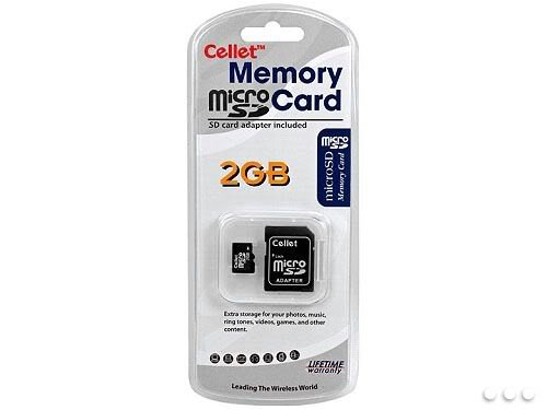 Cellet MicroSD 2GB Memory Card for Hp iPAQ 510 Smart Phone with SD Adapter. (Lifetime Warranty)