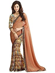 Exclusive Orange And Multicolor Weightless Material Printed Saree With Blouse