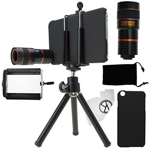 Kit obiettivi per fotocamera per iPhone 6 Plus / 6S Plus, include Lente 8x per teleobiettivo / Mini cavalletto / Supporto universale per cellulare / Custodia rigida per iPhone 6 Plus / 6S Plus / Borsa portacellulare in velluto / Panno per pulire in microfibra CamKix / Fantastici accessori per la fotocamera del tuo iPhone 6 Plus / 6S Plus