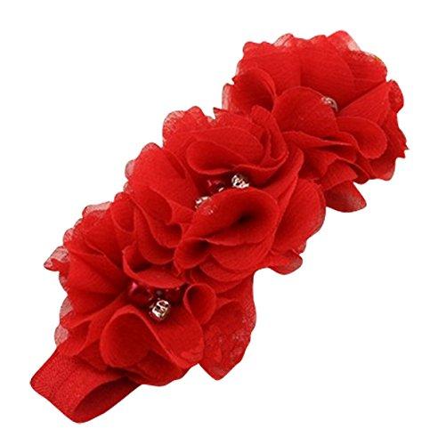 PinkXenia Red Chiffon Flower Pearl Embellished NewBorn BabyGirl Soft Elastic Headband