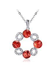MeraStore Summer Fashionable Statement Necklace In Red Color Made With Swarovski Elements For Women