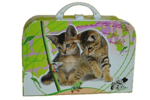 Kinderkoffer Groß Katze 34 cm Tier Puppenkoffer