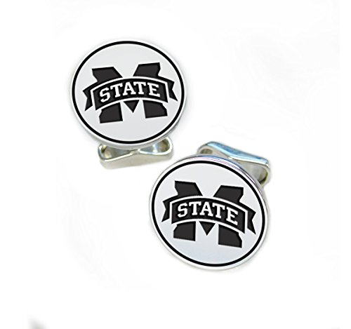 Mississippi State Bulldogs Sterling Silver Round Top Cufflinks