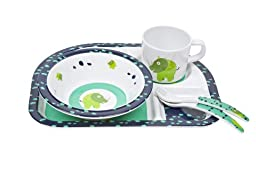 Lassig BPA-free Matching Melamine Dinnerware Dish Set includes 3 section Plate, Bowl, Cup and Spoon, Wildlife Rhino
