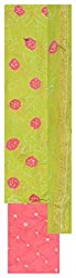 Natural handloom Women's Cotton Silk Unstitched Dress Material (Green and Pink)