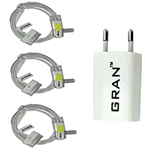 GRAN COMBO OF 3 PC. IPHONE 4 USB DATA SYNC CABLE + POWER ADAPTER