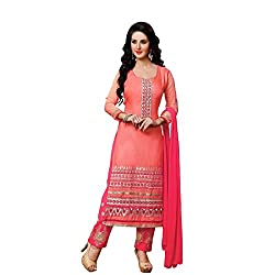 Neets Fashion Women's Cotton Semi Stitched Dress Material(GAU-D_1207_Orange)