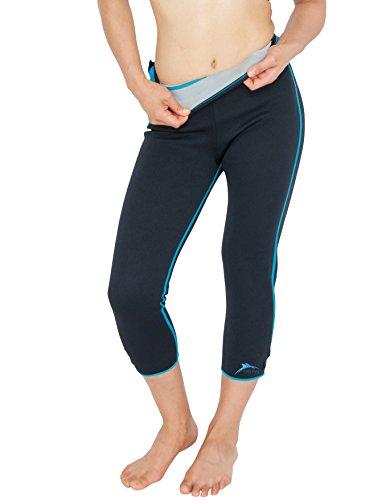 Delfin-Spa-Womens-Heat-Maximizing-Neoprene-Exercise-and-Anti-Cellulite-Capris-Regular-Plus-Sizes-TurquoiseBlack-X-Large