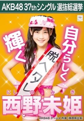 【西野未姫】ラブラドール・レトリバー AKB48 37thシングル選抜総選挙 劇場盤限定ポスター風生写真 AKB48チーム4