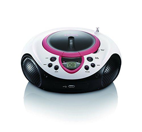 Lenco SCD-38 USB Stereo Boombox, Radio FM, CD/MP3-Player, USB 2.0, Rosa