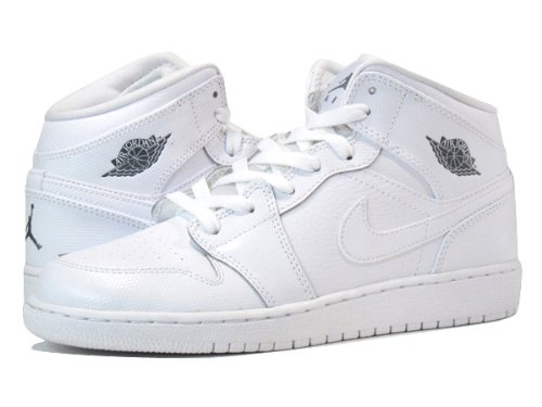 [ナイキ]NIKE AIR JORDAN 1 MID GS WHITE/WHITE [並行輸入品]