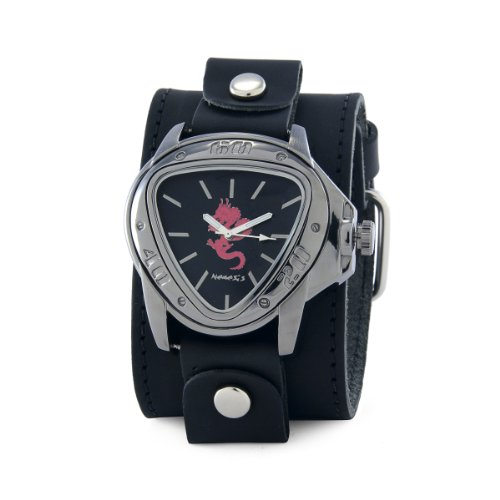 Nemesis Men's LBB928R Ion-Plating Black Case with Red Dragon Leather Cuff Watch