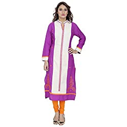 Mister Lady Embroidered Rayon Cotton Beautiful Colour Combination Long Kurti Tunic