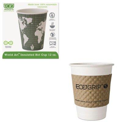 KITECOEG2000ECOEPBNHC12WD - Value Kit - ECO-PRODUCTS,INC. World Art Insulated Compostable Hot Cups (ECOEPBNHC12WD) and ECO-PRODUCTS,INC. EcoGrip Recycled Content Hot Cup Sleeve (ECOEG2000)