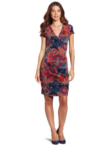 Jones New York Women's Cap Sleeve Wrap Dress
