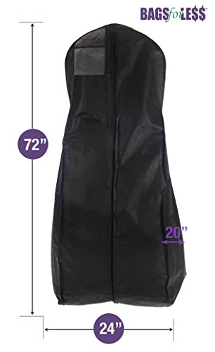 New X-large Breathable Black Wedding Gown Garment Bag by BAGS FOR LESSTM (Garment Wedding Dress Bag compare prices)