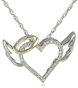 XPY Sterling Silver and 14k Yellow Gold Diamond Winged Halo Heart Pendant Necklace (.04cttw, I-J Color, I2-I3 Clarity), 18