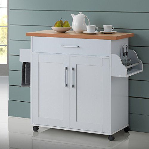 Kitchen Island Cart on Wheels with Wood Top Rolling Storage Cabinet (White)